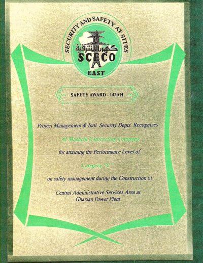 Certification Safety Award -1420-h